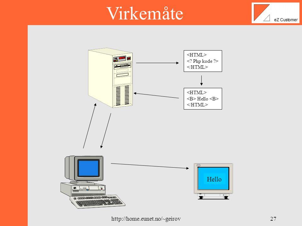 http://home.eunet.no/~geirov26 PHP3 •Php Hypertext Preprocessor •Scriptspråk for utvikling av dynamiske websider •Integrert i Html •Åpen standard •Eksekvering på server siden