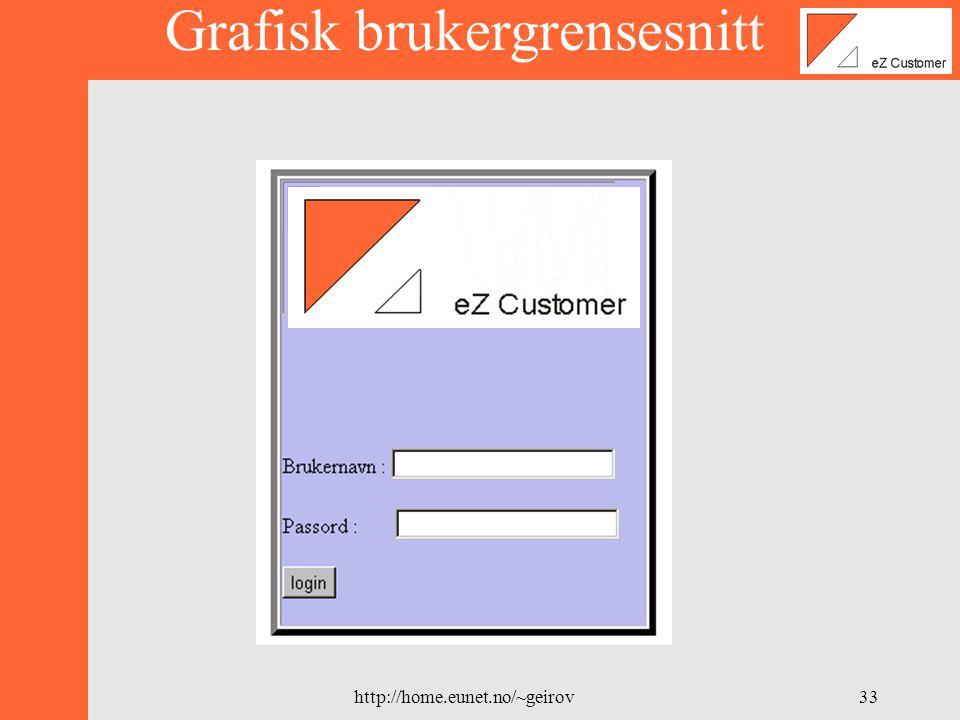 http://home.eunet.no/~geirov32 MySQL database server Web side i netleser PHP script Apache PHP 3 4 1 5 2 6 Brukergrensesnitt