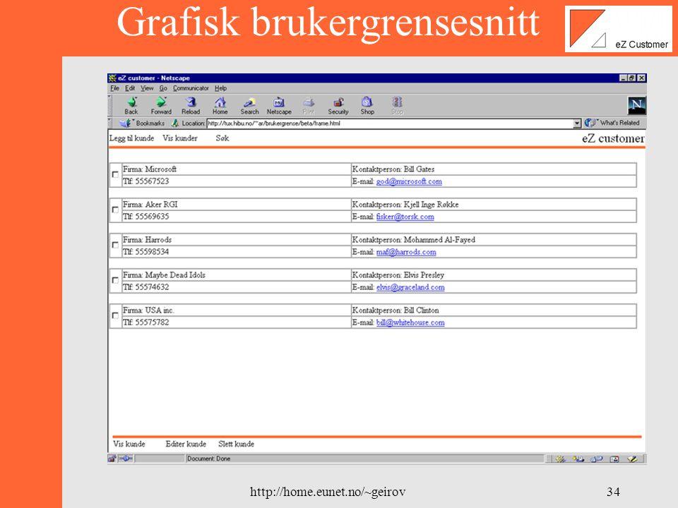 http://home.eunet.no/~geirov33 Grafisk brukergrensesnitt