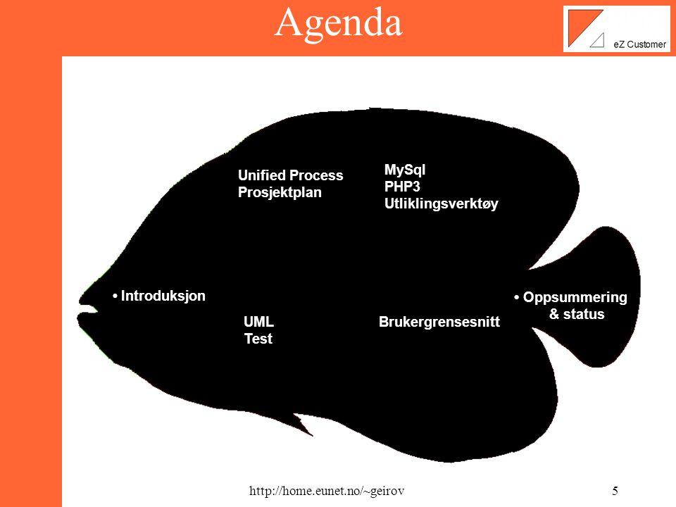 http://home.eunet.no/~geirov4 Agenda • Introduksjon Unified Process Prosjektplan UML Test MySql PHP3 Utliklingsverktøy Brukergrensesnitt • Oppsummering & status