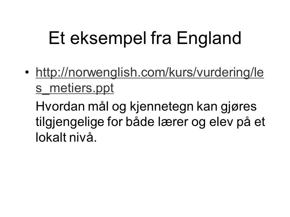 Et eksempel fra England •http://norwenglish.com/kurs/vurdering/le s_metiers.ppthttp://norwenglish.com/kurs/vurdering/le s_metiers.ppt Hvordan mål og k