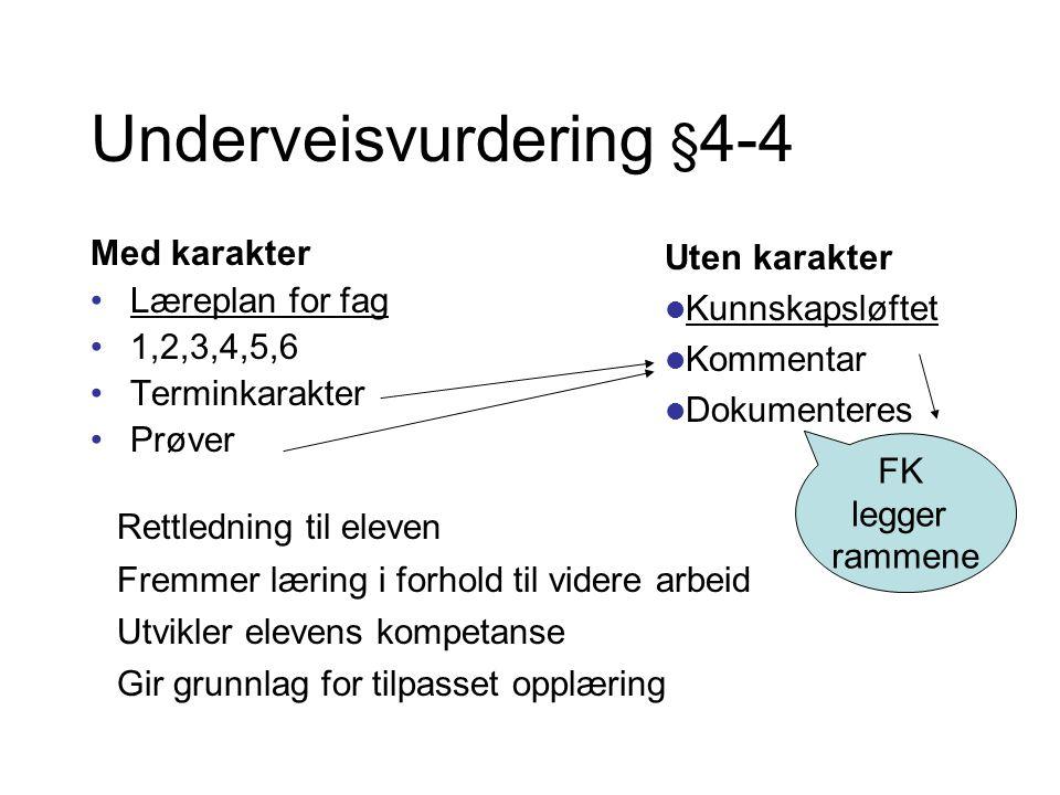 Underveisvurdering § 4-4 Med karakter •Læreplan for fag •1,2,3,4,5,6 •Terminkarakter •Prøver Uten karakter  Kunnskapsløftet  Kommentar  Dokumentere