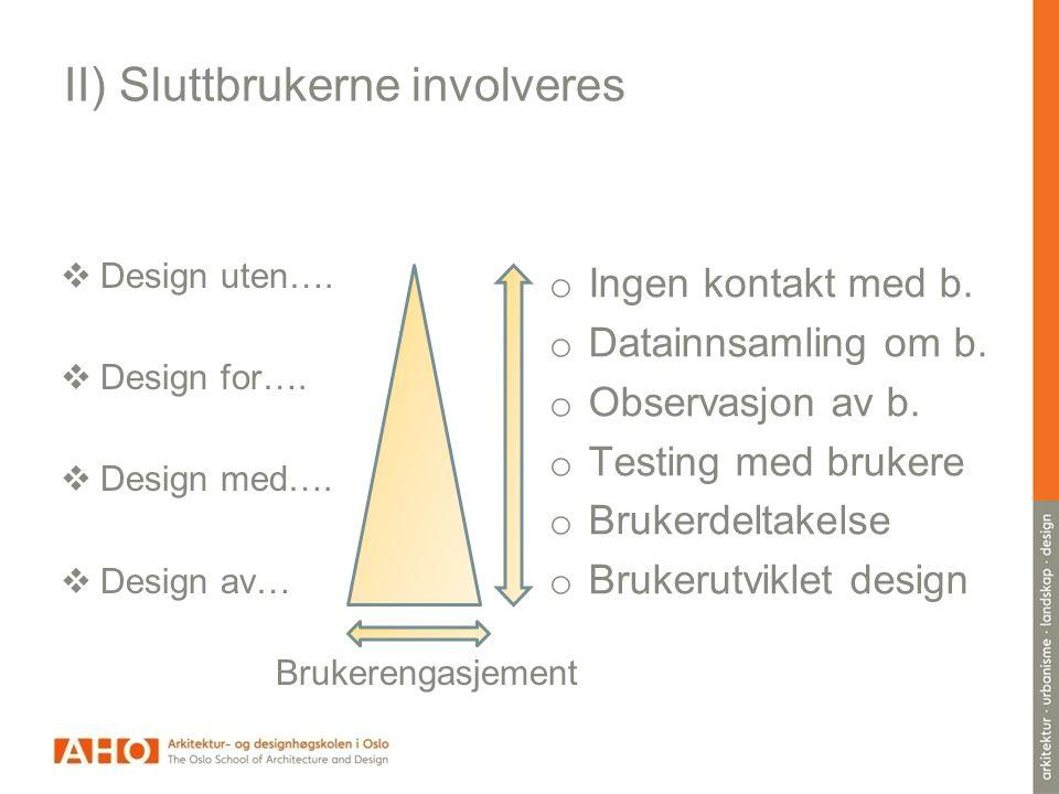 II) Sluttbrukerne involveres  Design uten…. Design for….