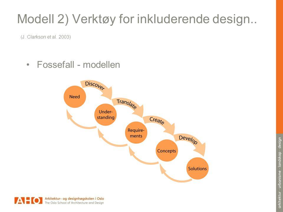 Modell 2) Verktøy for inkluderende design.. (J. Clarkson et al. 2003) •Fossefall - modellen