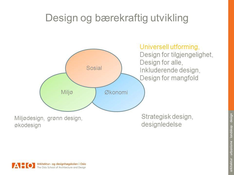 Design og bærekraftig utvikling Miljødesign, grønn design, økodesign Universell utforming, Design for tilgjengelighet, Design for alle, Inkluderende design, Design for mangfold Strategisk design, designledelse Miljø Sosial Miljø Økonomi