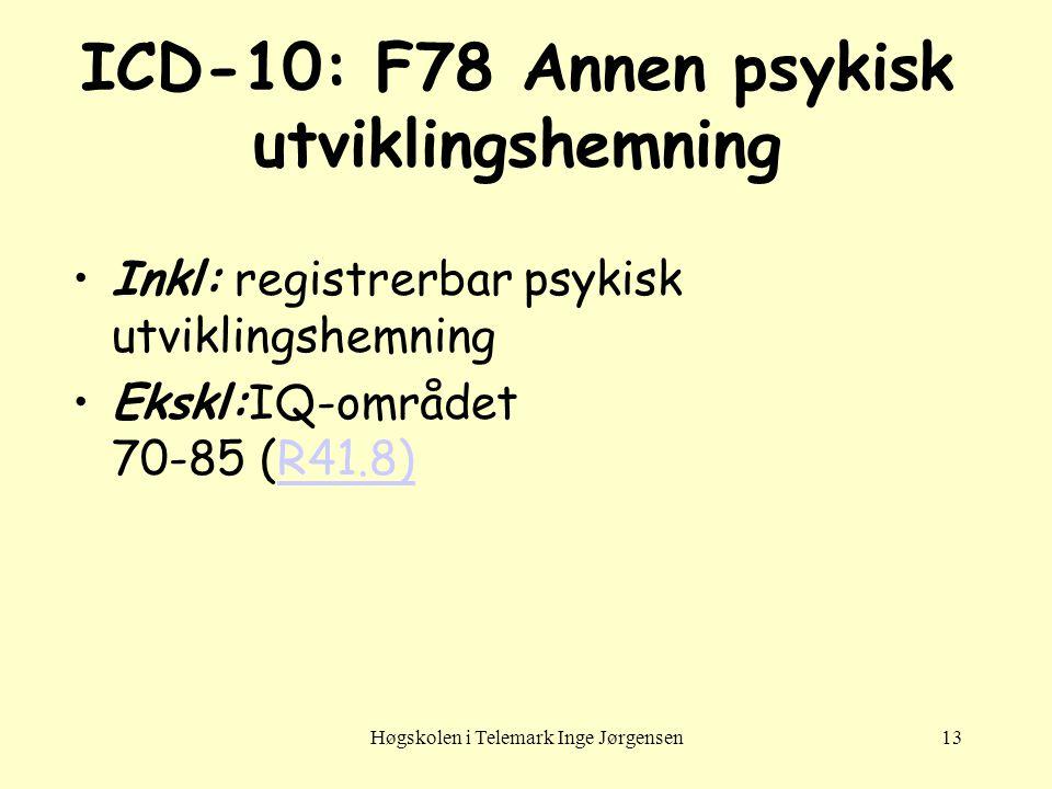 Høgskolen i Telemark Inge Jørgensen13 ICD-10: F78 Annen psykisk utviklingshemning •Inkl: registrerbar psykisk utviklingshemning •Ekskl:IQ-området 70-8