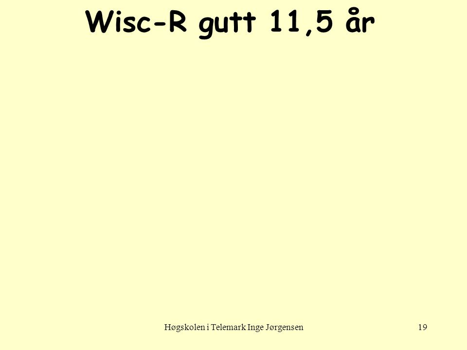 Høgskolen i Telemark Inge Jørgensen19 Wisc-R gutt 11,5 år
