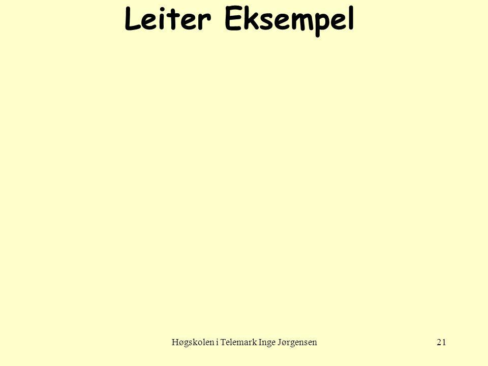 Høgskolen i Telemark Inge Jørgensen21 Leiter Eksempel