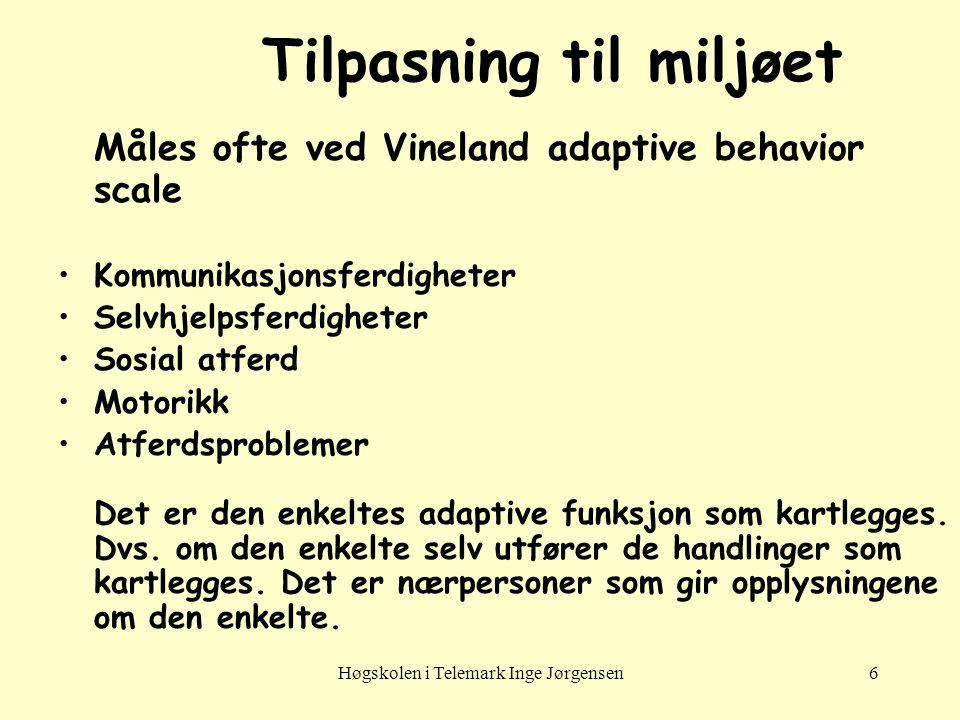 Høgskolen i Telemark Inge Jørgensen6 Tilpasning til miljøet Måles ofte ved Vineland adaptive behavior scale •Kommunikasjonsferdigheter •Selvhjelpsferd