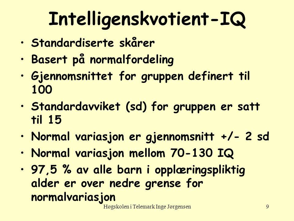 Høgskolen i Telemark Inge Jørgensen9 •Standardiserte skårer •Basert på normalfordeling •Gjennomsnittet for gruppen definert til 100 •Standardavviket (