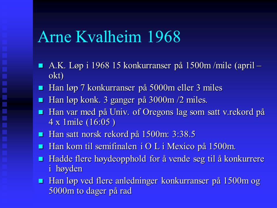 Arne Kvalheim 1968  A.K. Løp i 1968 15 konkurranser på 1500m /mile (april – okt)  Han løp 7 konkurranser på 5000m eller 3 miles  Han løp konk. 3 ga