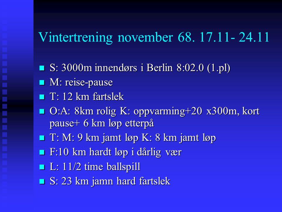 Vintertrening november 68. 17.11- 24.11  S: 3000m innendørs i Berlin 8:02.0 (1.pl)  M: reise-pause  T: 12 km fartslek  O:A: 8km rolig K: oppvarmin
