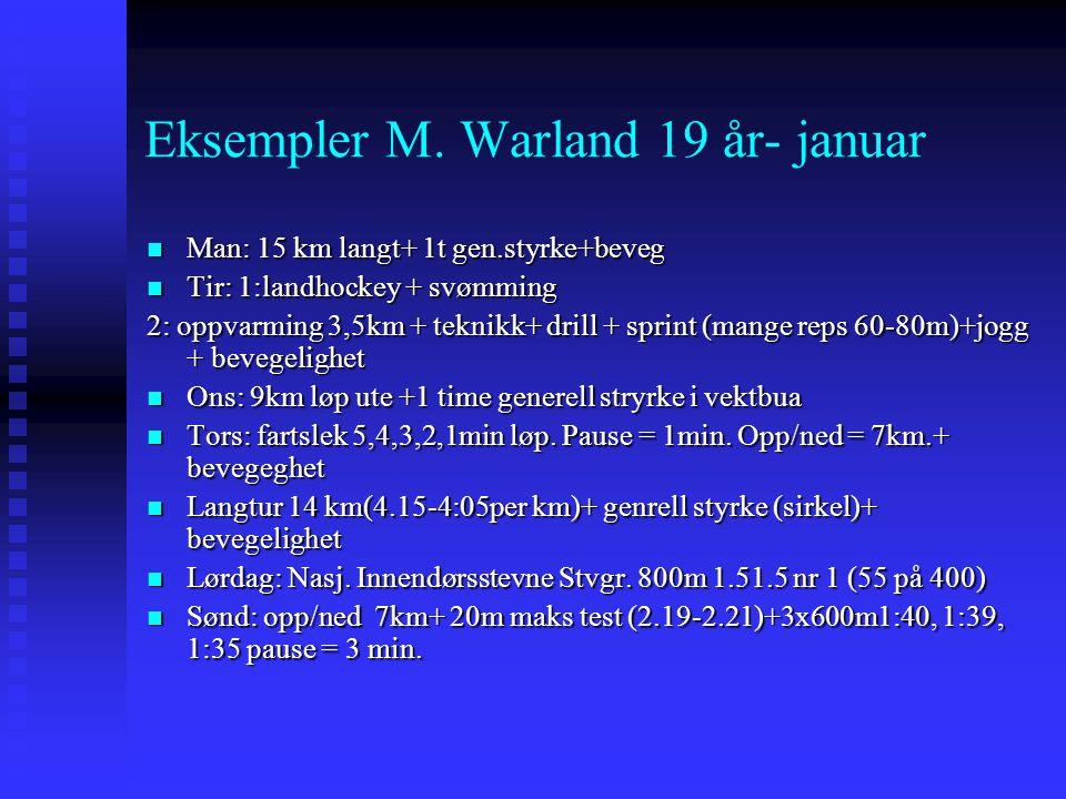 Eksempler M. Warland 19 år- januar  Man: 15 km langt+ 1t gen.styrke+beveg  Tir: 1:landhockey + svømming 2: oppvarming 3,5km + teknikk+ drill + sprin