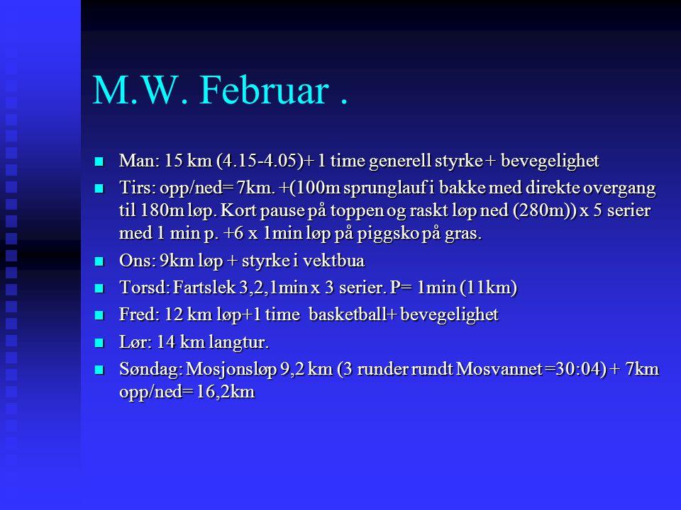 M.W. Februar.  Man: 15 km (4.15-4.05)+ 1 time generell styrke + bevegelighet  Tirs: opp/ned= 7km. +(100m sprunglauf i bakke med direkte overgang til