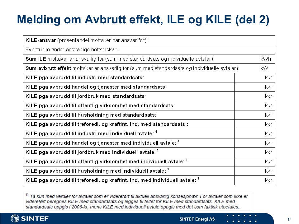 SINTEF Energi AS 12 Melding om Avbrutt effekt, ILE og KILE (del 2)