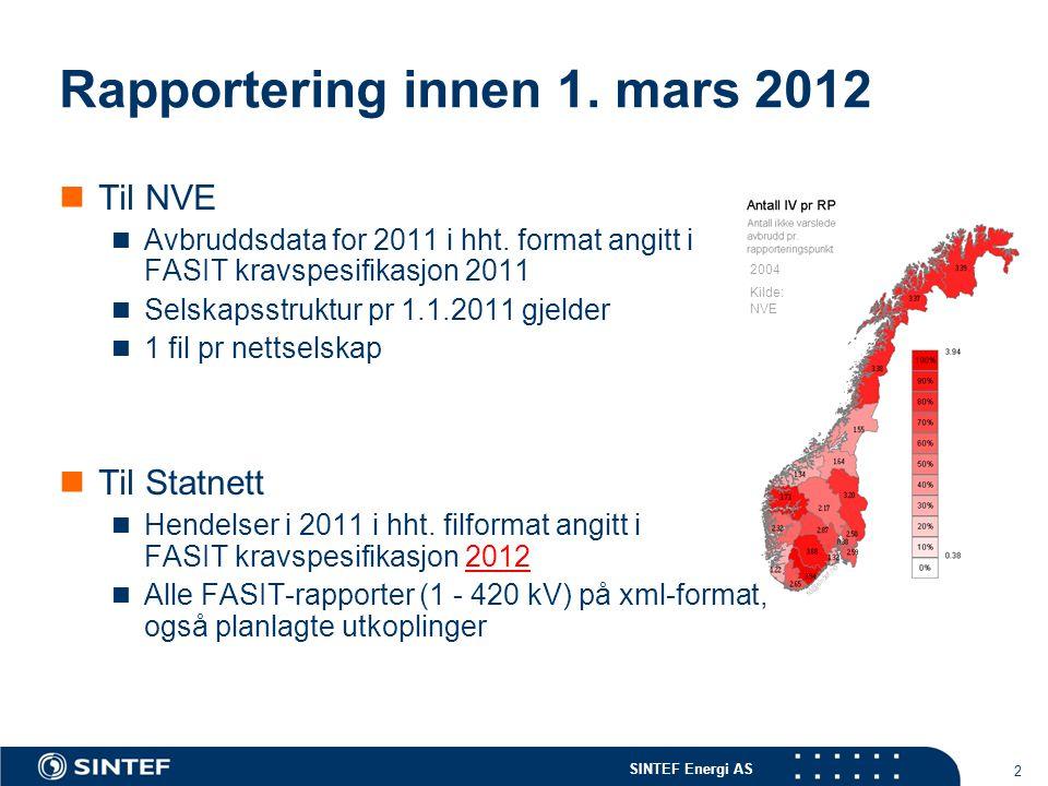 SINTEF Energi AS 2004 Kilde: NVE 2 Rapportering innen 1. mars 2012  Til NVE  Avbruddsdata for 2011 i hht. format angitt i FASIT kravspesifikasjon 20