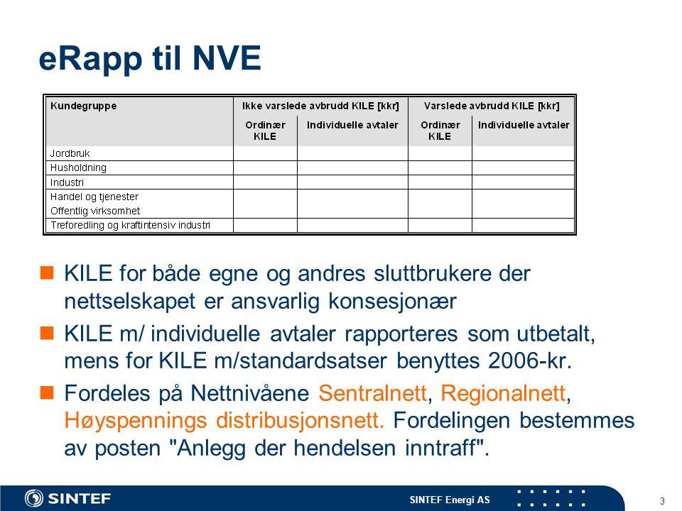 SINTEF Energi AS 3 eRapp til NVE  KILE for både egne og andres sluttbrukere der nettselskapet er ansvarlig konsesjonær  KILE m/ individuelle avtaler