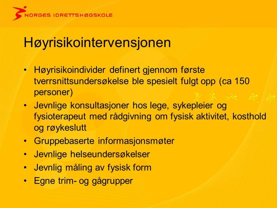 Høyrisikointervensjonen •Høyrisikoindivider definert gjennom første tverrsnittsundersøkelse ble spesielt fulgt opp (ca 150 personer) •Jevnlige konsult