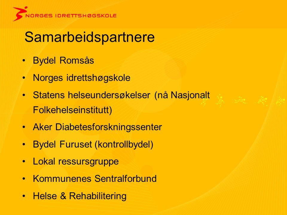 Samarbeidspartnere •Bydel Romsås •Norges idrettshøgskole •Statens helseundersøkelser (nå Nasjonalt Folkehelseinstitutt) •Aker Diabetesforskningssenter
