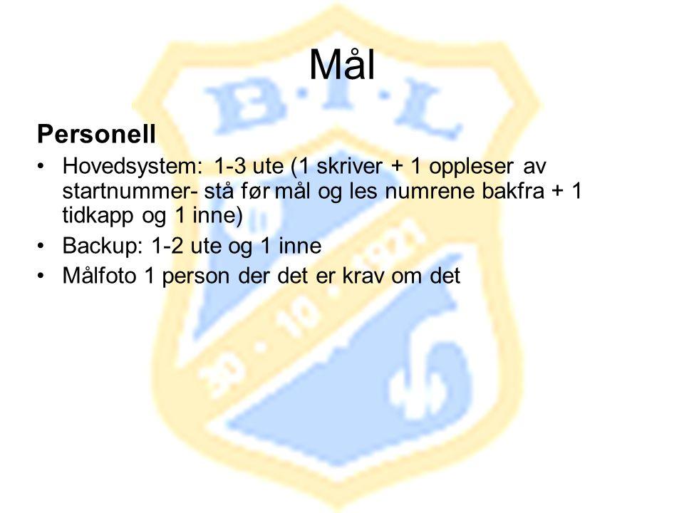 Mål Personell •Hovedsystem: 1-3 ute (1 skriver + 1 oppleser av startnummer- stå før mål og les numrene bakfra + 1 tidkapp og 1 inne) •Backup: 1-2 ute