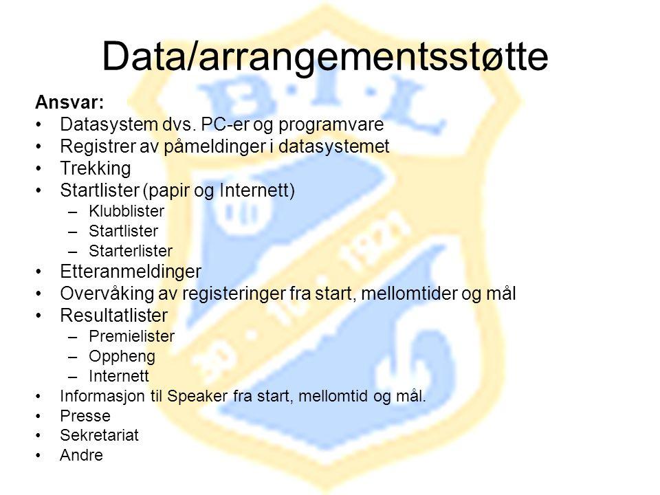 Data/arrangementsstøtte Ansvar: •Datasystem dvs. PC-er og programvare •Registrer av påmeldinger i datasystemet •Trekking •Startlister (papir og Intern