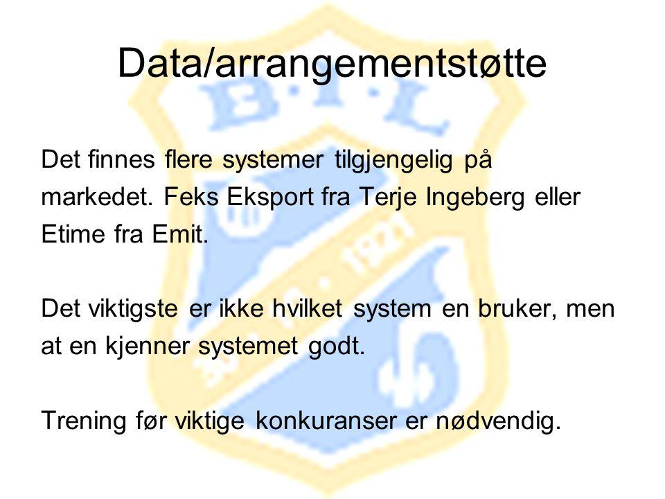 Data/arrangementstøtte Det finnes flere systemer tilgjengelig på markedet. Feks Eksport fra Terje Ingeberg eller Etime fra Emit. Det viktigste er ikke