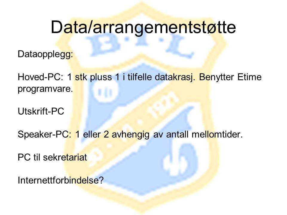 Data/arrangementstøtte Dataopplegg: Hoved-PC: 1 stk pluss 1 i tilfelle datakrasj. Benytter Etime programvare. Utskrift-PC Speaker-PC: 1 eller 2 avheng