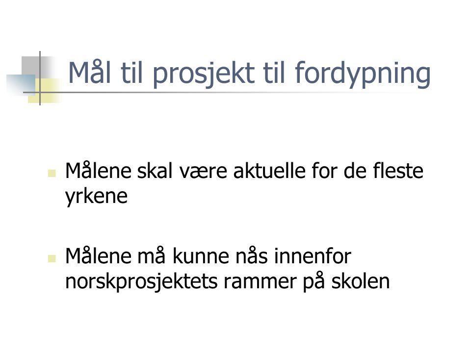 Mål til prosjekt til fordypning  Målene skal være aktuelle for de fleste yrkene  Målene må kunne nås innenfor norskprosjektets rammer på skolen