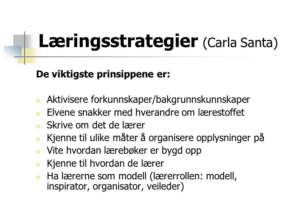 Læringsstrategier (Carla Santa) De viktigste prinsippene er:  Aktivisere forkunnskaper/bakgrunnskunnskaper  Elvene snakker med hverandre om lærestof