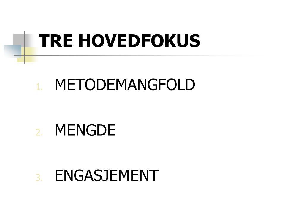 TRE HOVEDFOKUS 1. METODEMANGFOLD 2. MENGDE 3. ENGASJEMENT