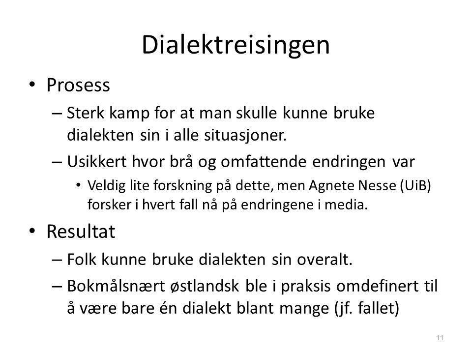 Bokmålsnært østlandsk Dialekt A Dialekt BDialekt CDialekt DDialekt E Dialektene tar makten ? Bokmålsnært østlandsk