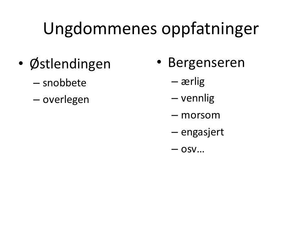 Fokusgrupper • To fokusgrupper med 8 ungdommer fra videregående skoler i Bergen • Fokusgruppe A: Erkebergensere – bodd i Bergen alltid – foreldre fra