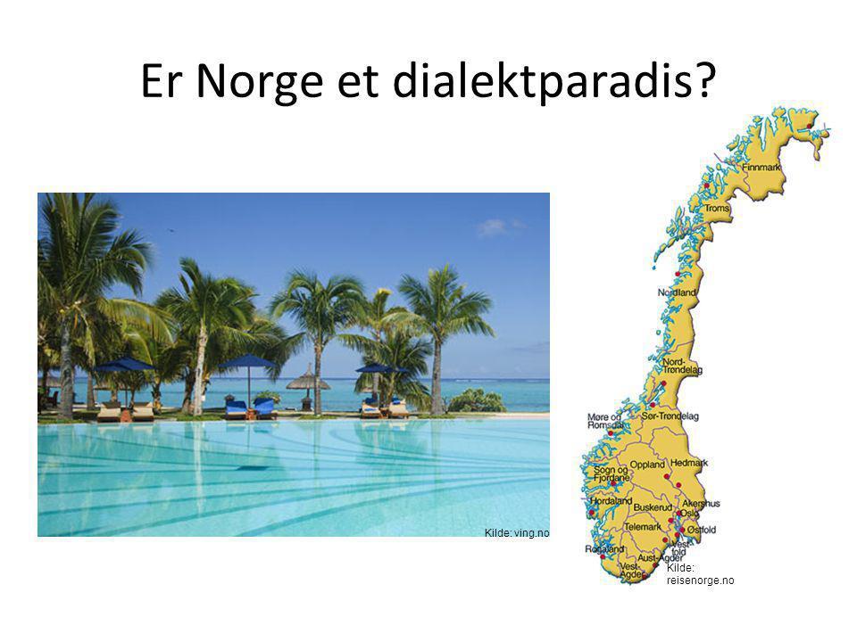 Norge – et land med mange dialekter • Dialektprøver – «Nordavinden og sola» (http://www.ling.hf.ntnu.no/nos) – Dette er en database med opptak og tran