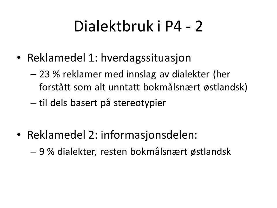 Dialektbruk i P4 - 1 • Sverre Høisæther: Standardtalemål og dialekt i radioreklame (1999) • Reklamedel 1: hverdagssituasjon • Reklamedel 2: informasjo