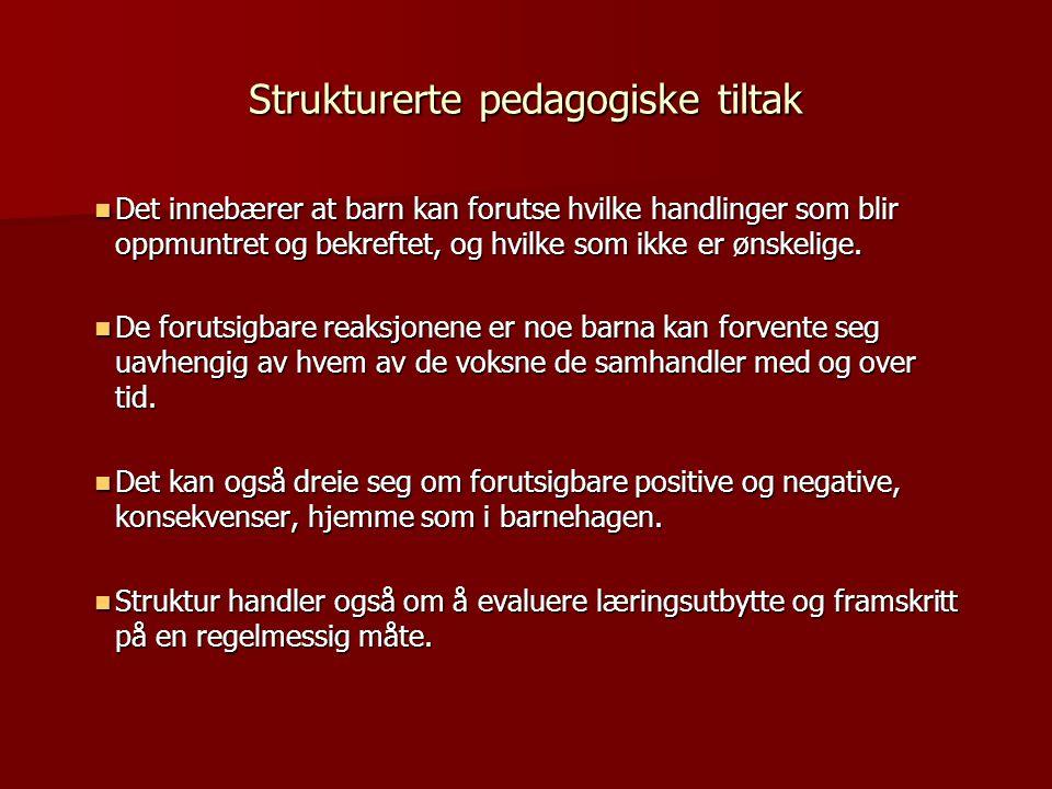 Strukturerte pedagogiske tiltak  Det innebærer at barn kan forutse hvilke handlinger som blir oppmuntret og bekreftet, og hvilke som ikke er ønskelig