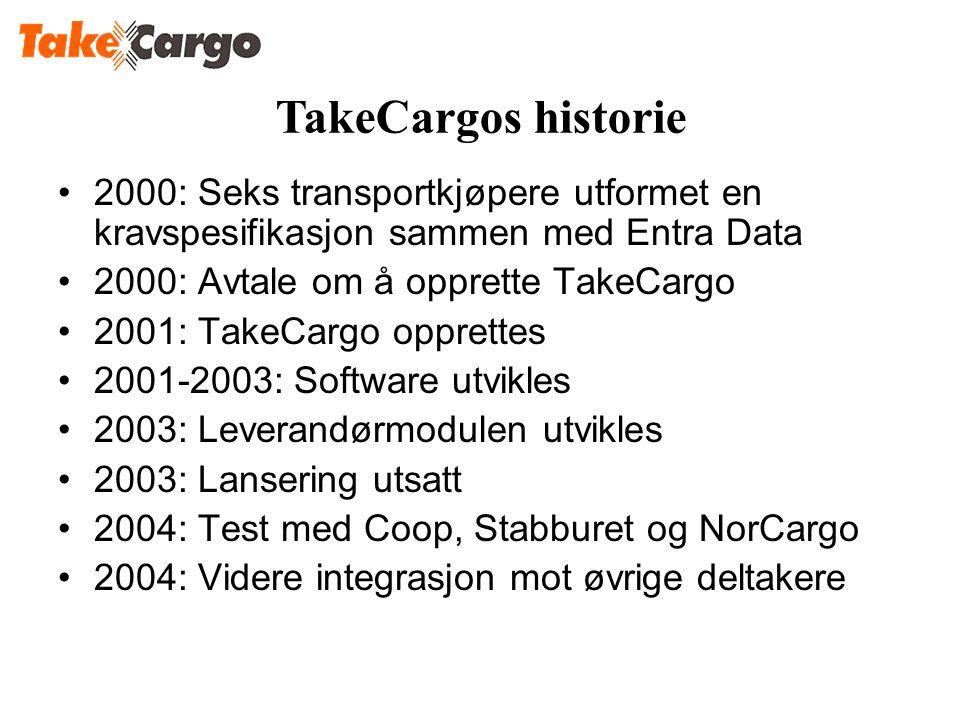 •2000: Seks transportkjøpere utformet en kravspesifikasjon sammen med Entra Data •2000: Avtale om å opprette TakeCargo •2001: TakeCargo opprettes •200