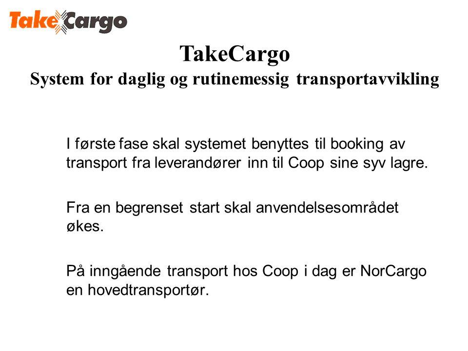I første fase skal systemet benyttes til booking av transport fra leverandører inn til Coop sine syv lagre. Fra en begrenset start skal anvendelsesomr