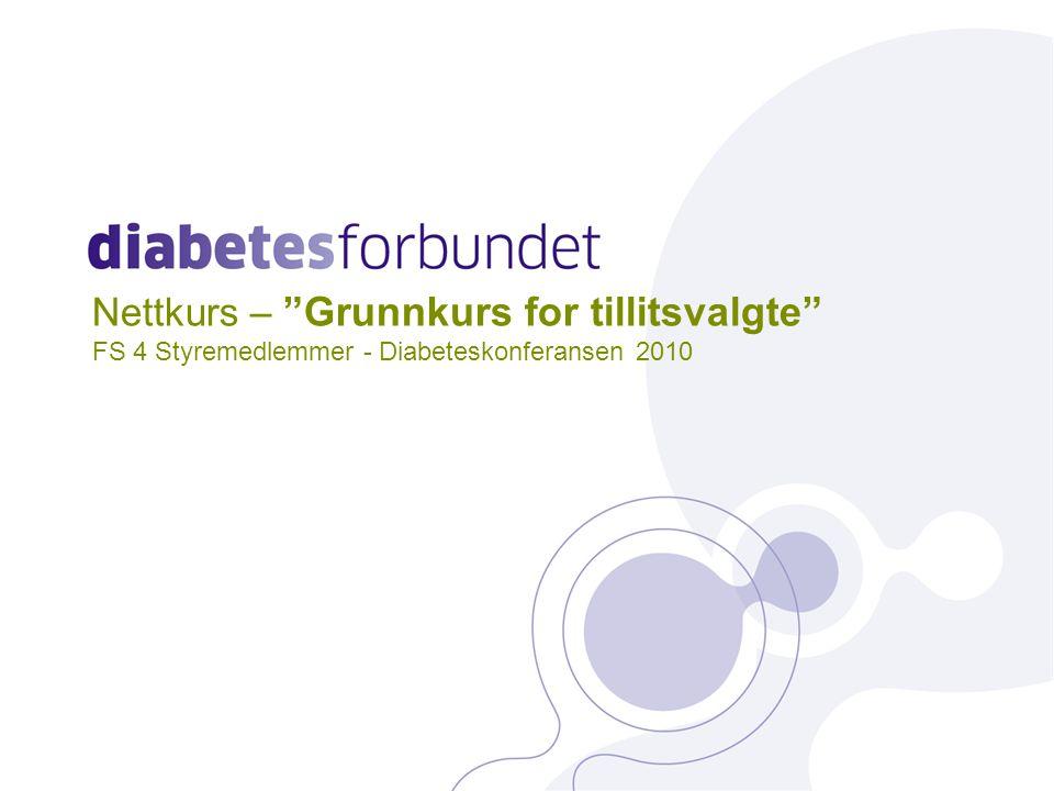 Nettkurs – Grunnkurs for tillitsvalgte FS 4 Styremedlemmer - Diabeteskonferansen 2010