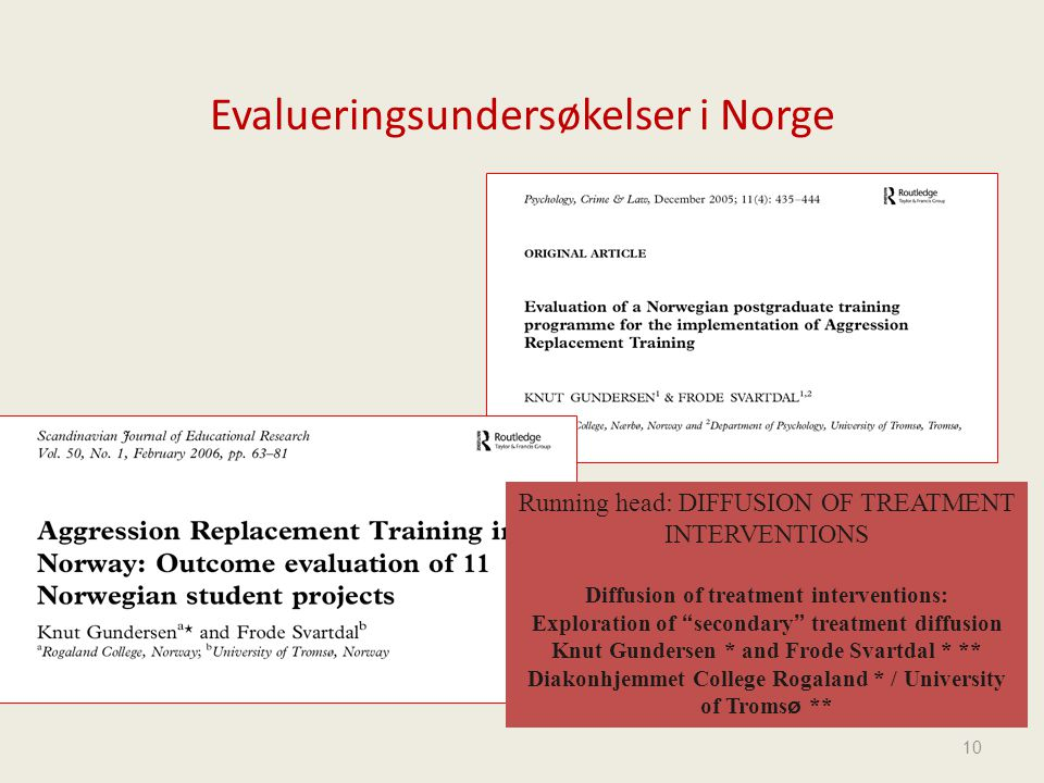 Evalueringsundersøkelser i Norge 10 Running head: DIFFUSION OF TREATMENT INTERVENTIONS Diffusion of treatment interventions: Exploration of secondary treatment diffusion Knut Gundersen * and Frode Svartdal * ** Diakonhjemmet College Rogaland * / University of Troms ø **