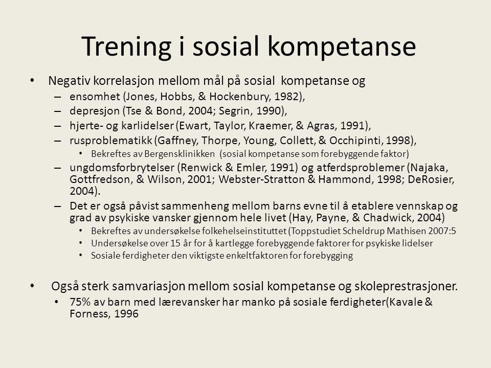 Sosial informasjons-bearbeidings modell (Crick and Dodge, 1994) En sosial samhandling kan forstås gjennom følgende 6 trinn: 1)Utvelgelse og tolking av sosiale signaler, -gjennkjenning følelser / empati / fiendtlig innstilling/frustrasjoner som innebærer sinne 2)Klargjøring av mål, 3)Etablering av handlingsalternativer 4)Valg av respons 6) Gjennomføre respons.