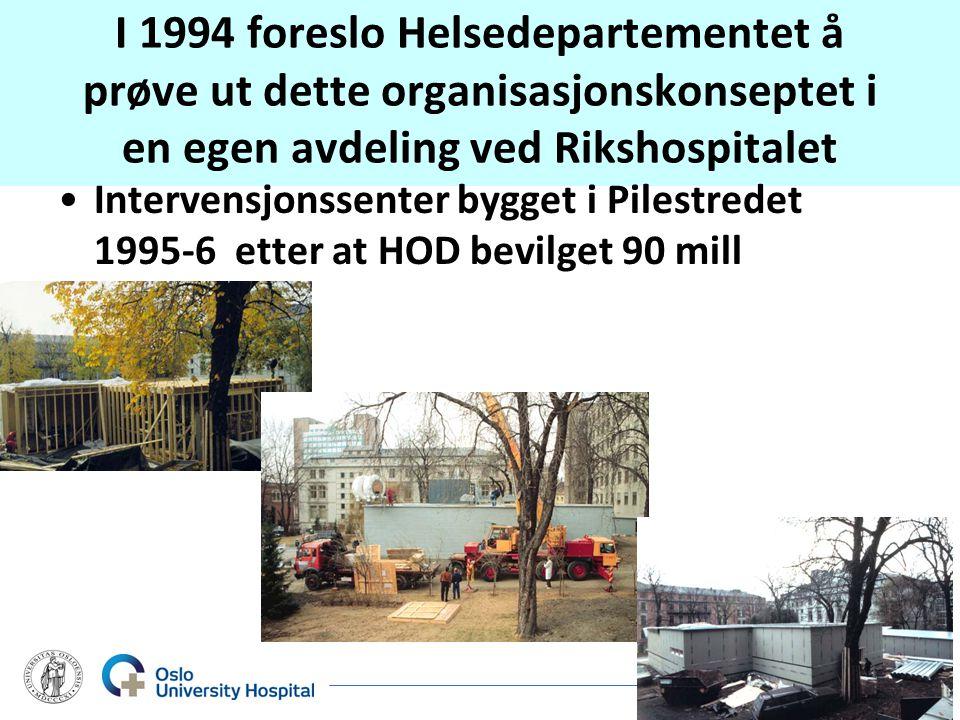 I 1994 foreslo Helsedepartementet å prøve ut dette organisasjonskonseptet i en egen avdeling ved Rikshospitalet •Intervensjonssenter bygget i Pilestredet 1995-6 etter at HOD bevilget 90 mill The Interventional Centre