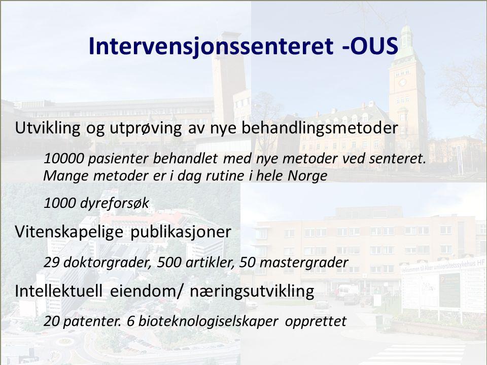 Intervensjonssenteret -OUS Utvikling og utprøving av nye behandlingsmetoder 10000 pasienter behandlet med nye metoder ved senteret.