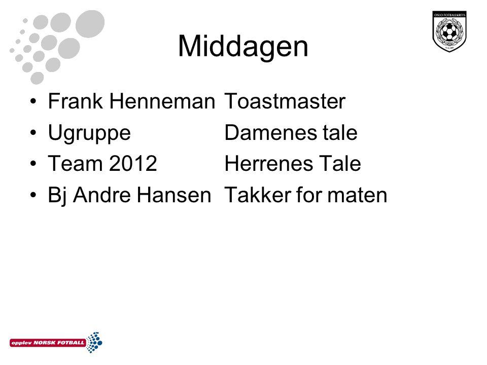 Middagen •Frank HennemanToastmaster •Ugruppe Damenes tale •Team 2012Herrenes Tale •Bj Andre HansenTakker for maten