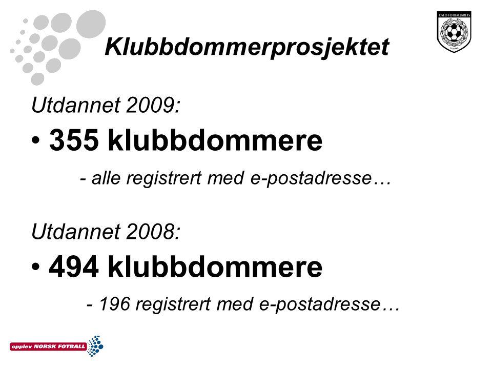 Klubbdommerprosjektet Utdannet 2009: •355 klubbdommere - alle registrert med e-postadresse… Utdannet 2008: •494 klubbdommere - 196 registrert med e-po