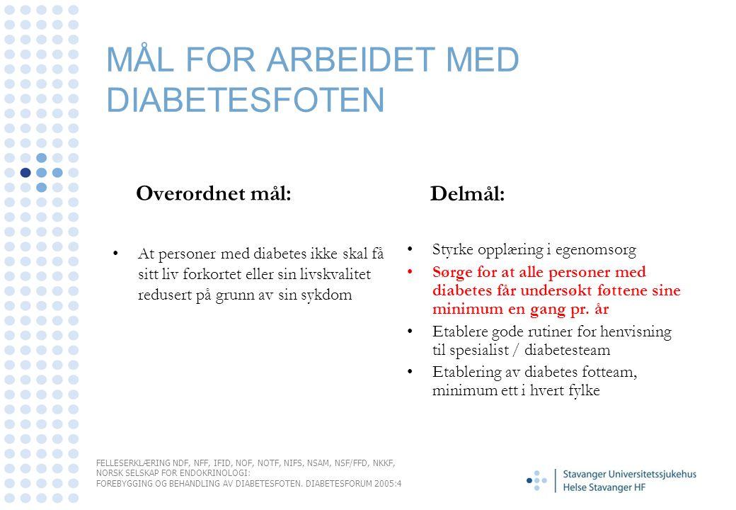 MÅL FOR ARBEIDET MED DIABETESFOTEN Overordnet mål: •At personer med diabetes ikke skal få sitt liv forkortet eller sin livskvalitet redusert på grunn