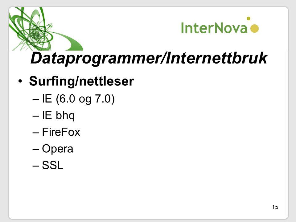 15 Dataprogrammer/Internettbruk •Surfing/nettleser –IE (6.0 og 7.0) –IE bhq –FireFox –Opera –SSL
