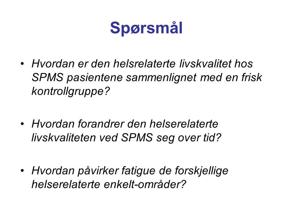 •Hvordan er den helsrelaterte livskvalitet hos SPMS pasientene sammenlignet med en frisk kontrollgruppe? •Hvordan forandrer den helserelaterte livskva