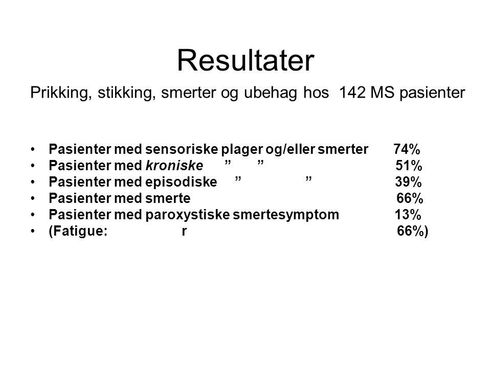 """Resultater Prikking, stikking, smerter og ubehag hos 142 MS pasienter •Pasienter med sensoriske plager og/eller smerter 74% •Pasienter med kroniske """""""