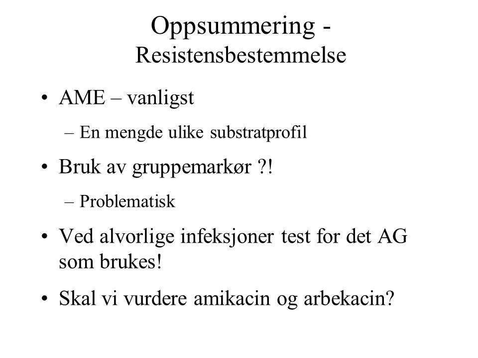 Oppsummering - Resistensbestemmelse •AME – vanligst –En mengde ulike substratprofil •Bruk av gruppemarkør ?! –Problematisk •Ved alvorlige infeksjoner