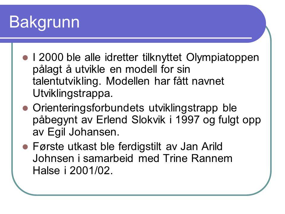 Bakgrunn  I 2000 ble alle idretter tilknyttet Olympiatoppen pålagt å utvikle en modell for sin talentutvikling. Modellen har fått navnet Utviklingstr